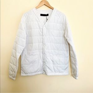 BLACK SCALE White Puffer Snap Front Light Jacket